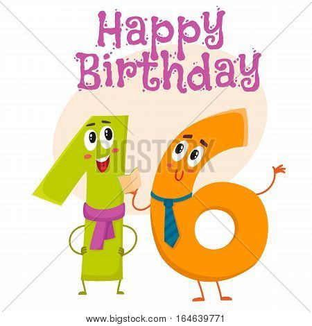 Happy birthday vector greeting card, poster, banner design with cute and funny sixteen number characters. sixteen smiling characters, happy birthday greeting card template