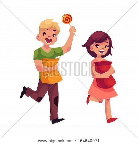 Little boy and girl holding packs of chips and running happily, cartoon vector illustration isolated on white background. Happy brown-haired girl and blond boy with packs of chips and lollipop