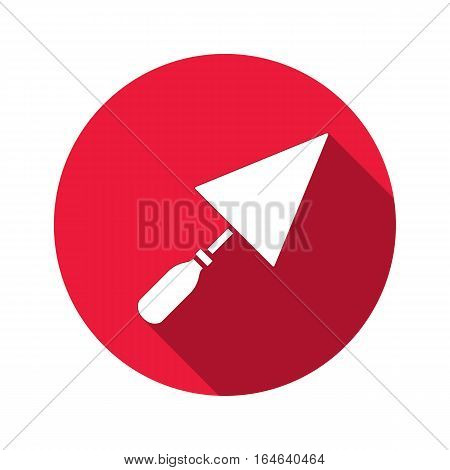 Tool icon. Spattle, surfacer, plastering instrument. Work, job, labour, toil, repair, building symbol. White sign on round red button with long shadow. Vector isolated