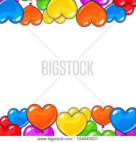 Greeting card template with bright and colorful heart shaped balloons, cartoon vector illustration isolated on white background. Multicolored heart balloons forming a frame, balloon-filled from below