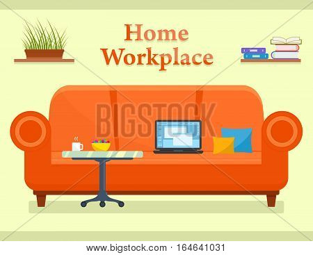 home workplace room interior with cozy sofa