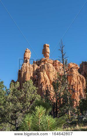 Balanced rocks along the route towards Bryce Canyon National Park, Utah