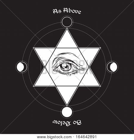 Hand Drawn Medieval Esoteric Style Vector Illustration. Eye Of Providence In The Center Of The Hexag