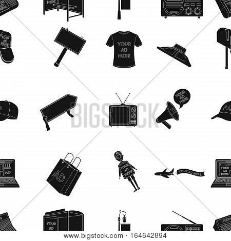 Advertising pattern icons in black design. Big collection of advertising vector symbol stock illustration