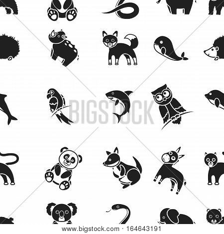 Animals pattern icons in black style. Big collection animals vector symbol stock
