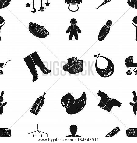 Baby born pattern icons in black design. Big collection of baby born vector symbol stock