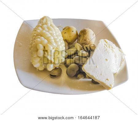 Perspective top view shot of traditional ecuadorian andean food isolated on white background