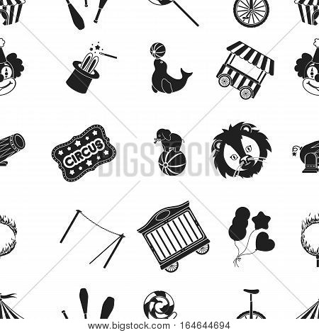 Circus pattern icons in black style. Big collection of circus vector symbol stock