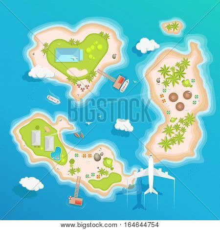 Travel tourism vector illustration in a flat style. World travel banner. Air tourism. Summer holidays, vacation. Journey, trip plan.Tourists tips. International tourism. Plane, island