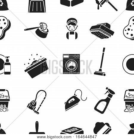 Cleaning pattern icons in black style. Big collection of cleaning vector symbol stock