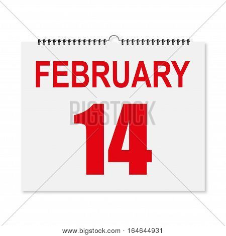 Calendar February 14 Valentine's Day In A Realistic Style