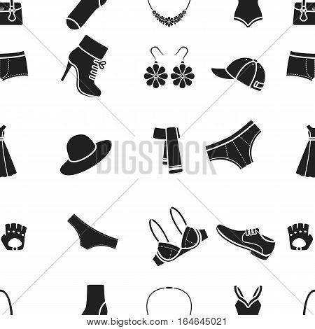 Clothes pattern icons in black style. Big collection of clothes vector symbol stock