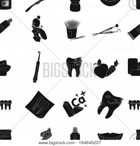 Dental care pattern icons in black design. Big collection of dental care vector symbol stock illustration