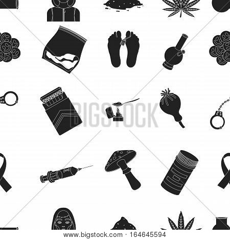Drugs pattern icons in black style. Big collection of drugs vector symbol stock