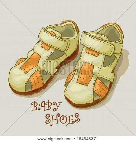 Children's sandals for a boy. Shoes. Stock vector.