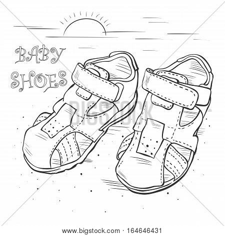 Sketch vector. Children's sandals for a boy. Shoes.