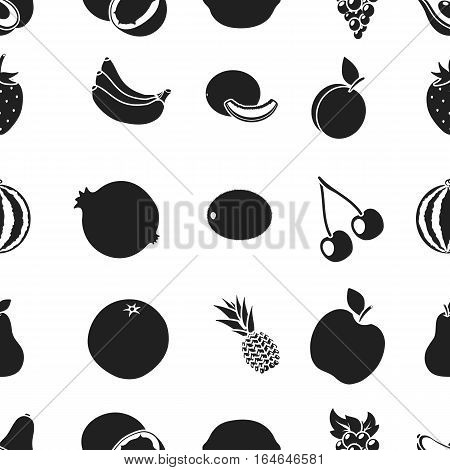 Fruits pattern icons in black style. Big collection of fruits vector symbol stock