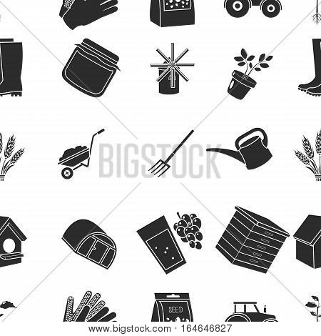 Farm pattern icons in black style. Big collection of farm vector symbol stock
