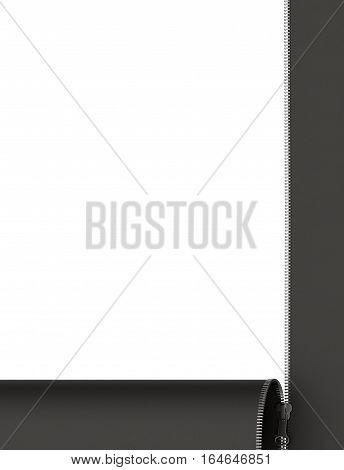 Open zipper on white background 3D rendering