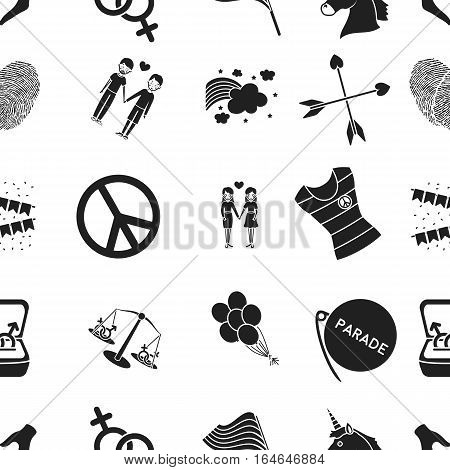 Gay pattern icons in black style. Big collection of gay vector symbol stock