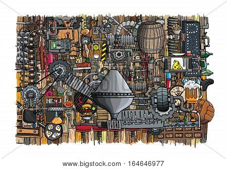 Bar, pub large illustration with beer, food and bar accessories