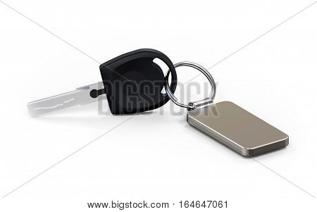 Car key with metal fob on white background 3D rendering