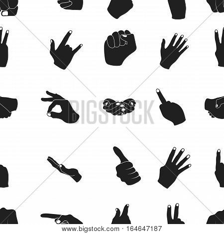 Hand gestures pattern icons in black style. Big collection of hand gestures vector symbol stock