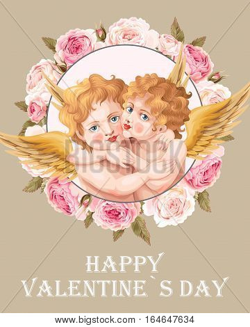 Vintage valentines day card with two embracing baby angels and flowers
