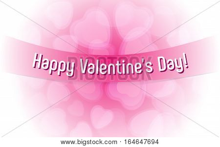 Festive tender picture of hearts with congratulations on Valentine's Day. Vector