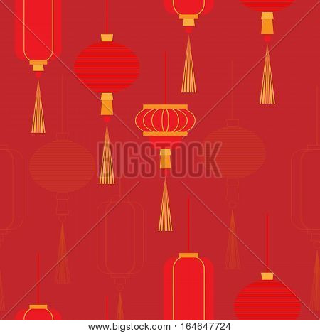 Chinese New Year lanterns pale in color and contour. Vector seamless pattern.