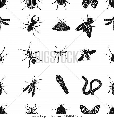 Insects pattern icons in black design. Big collection of insects vector symbol stock illustration