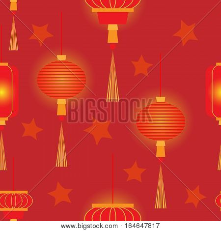Chinese New Year with glowing lanterns and stars. Vector seamless pattern.