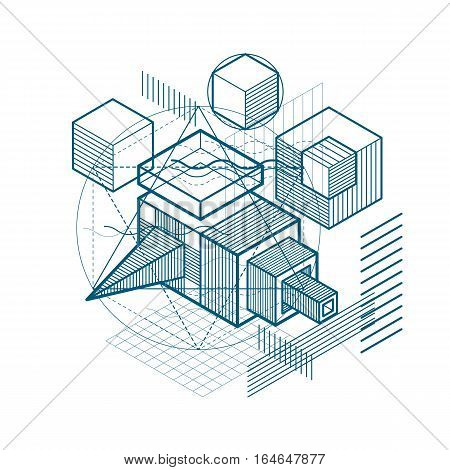Vector Background With Abstract Isometric Lines And Figures. Template Made With Cubes, Hexagons, Squ