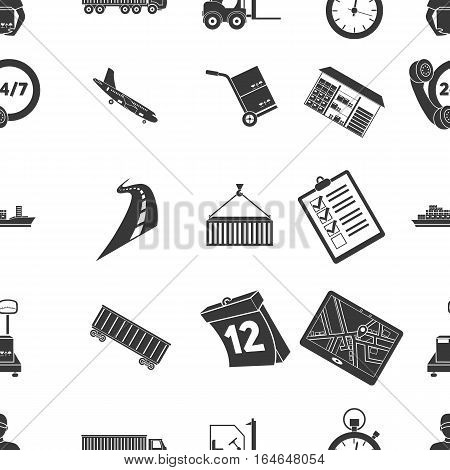 Logistic pattern icons in black style. Big collection of logistic vector symbol stock