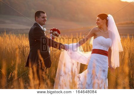 Bride Looks Over Her Shoulder At A Fiance Holding His Hand