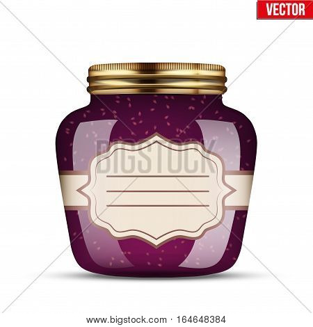 Canning Glass Jar with raspberries jam and and sticker label. Vector Illustration isolated on transparent background.
