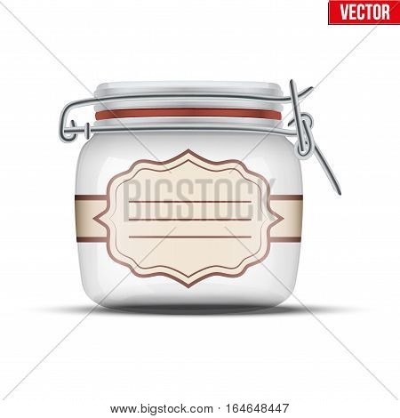 Glass Jar for canning and preserving with ticker label. Vector Illustration isolated on transparent background.