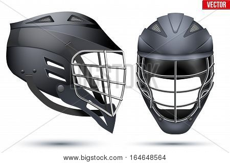 Black Lacrosse Helmet Set. Front and Side View. Sport goods and equipment. Vector Illustration isolated on white background.