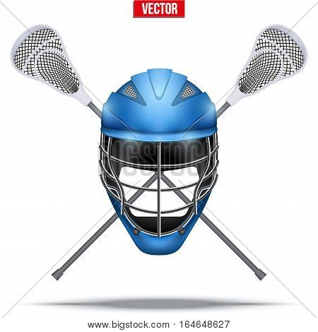 Lacrosse sticks and helmet Label. Sporting Symbol and mascot. Vector Illustration Isolated on background.
