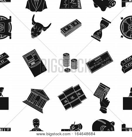 Money and finance pattern icons in black design. Big collection of money and finance vector symbol stock illustration