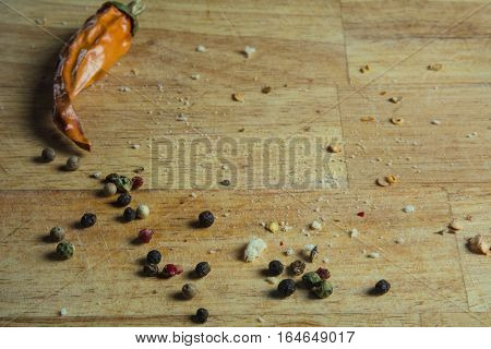 Background Wooden Cutting Board With Pepper