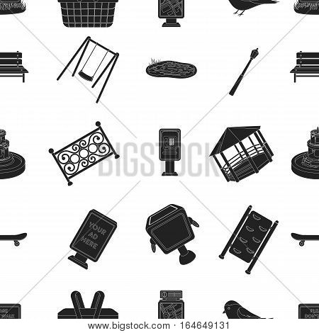 Park pattern icons in black style. Big collection of park vector symbol stock