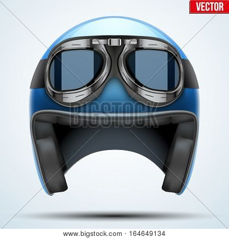 Vintage motorcycle classic helmet with goggles. Transportation industry. Vector illustration isolated on background,