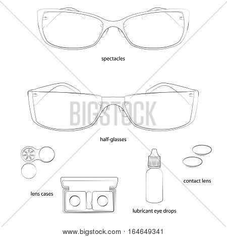 Set of glasses and lens illustrations. White background, white objects, black outline, names. Isolated images for your design. Vector