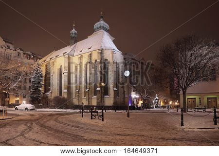 Monastery of St. Agnes Czech night view iwith snow in Prague first Gothic building in Bohemia about the year 1230 today there is the National Gallery