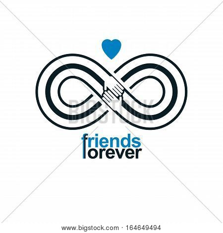 Friends Forever, Everlasting Friendship Unusual Vector Logo Combined With Two Symbols Of Infinity An