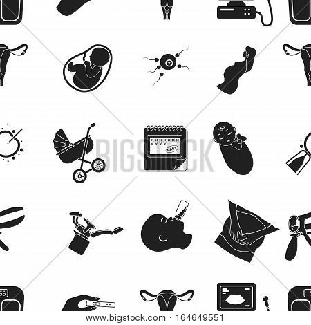 Pregnancy pattern icons in black style. Big collection of pregnancy vector symbol stock