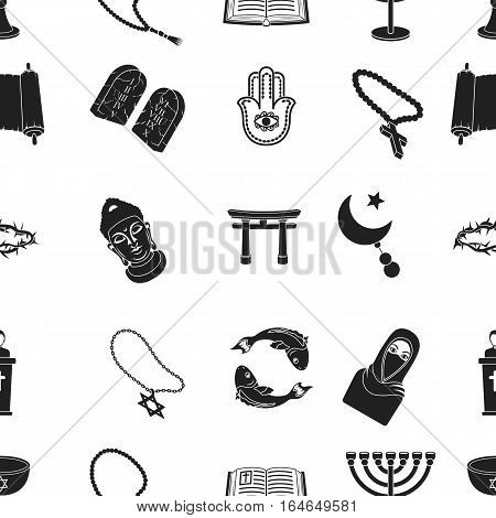 Religion pattern icons in black style. Big collection of religion vector symbol stock
