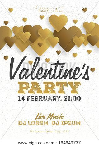 Golden Valentine's Day Invitation Flyer. The Template For The Club, Musical Evenings. Speech By Musi