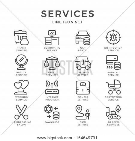 Set line icons of services isolated on white. Vector illustration